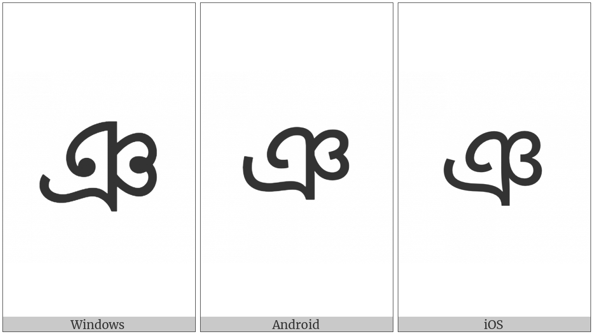 Bengali Letter Nya on various operating systems