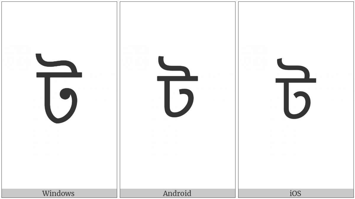 Bengali Letter Tta on various operating systems