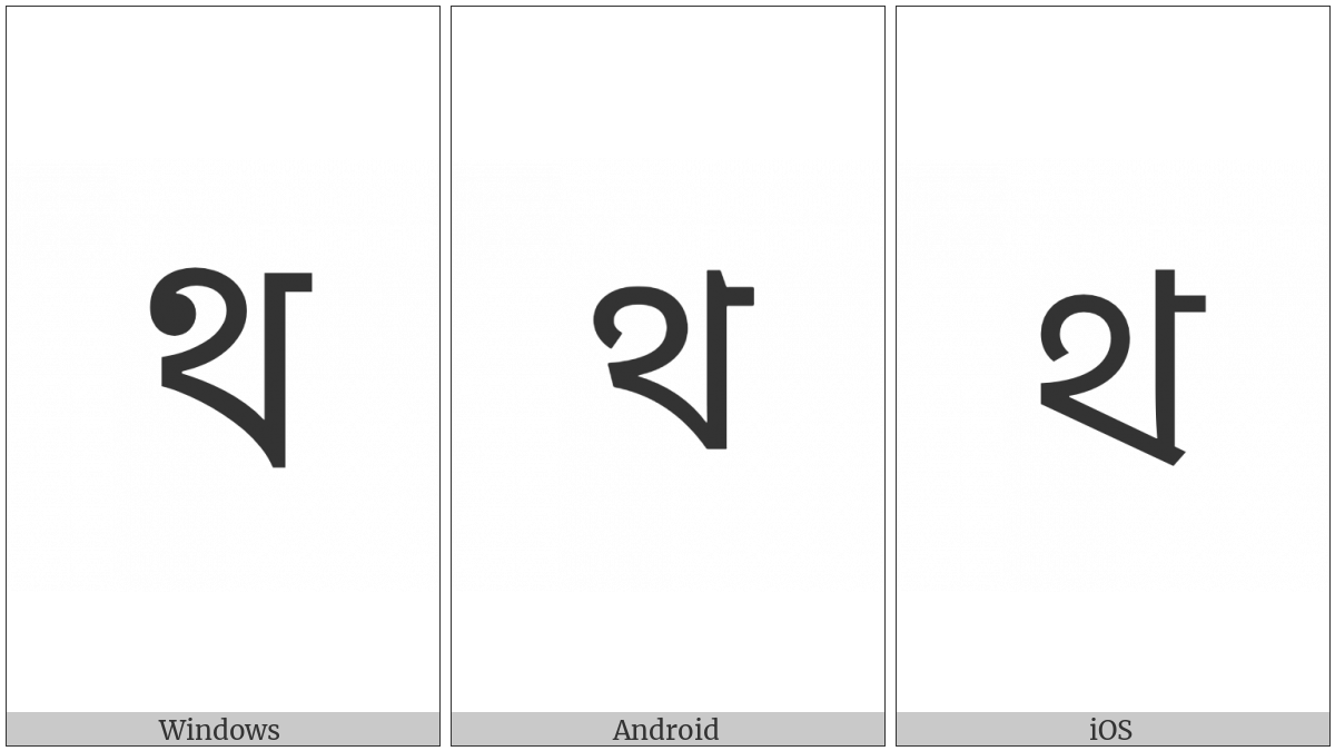 Bengali Letter Tha on various operating systems