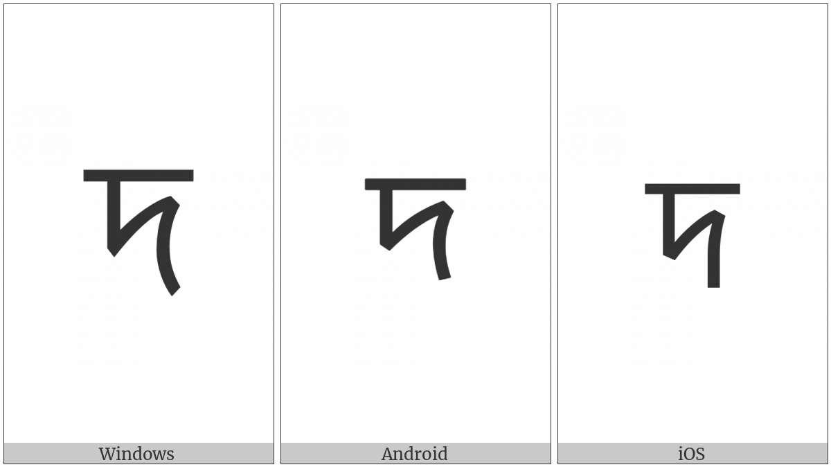 Bengali Letter Da on various operating systems