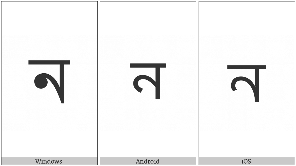 Bengali Letter Na on various operating systems