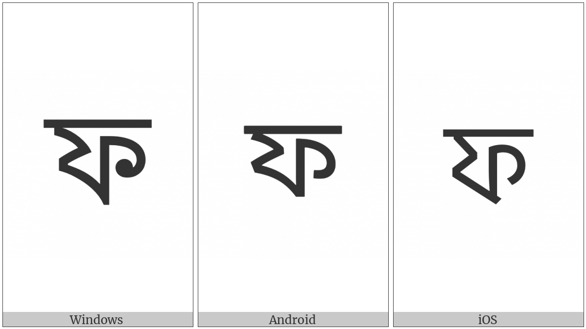 Bengali Letter Pha on various operating systems