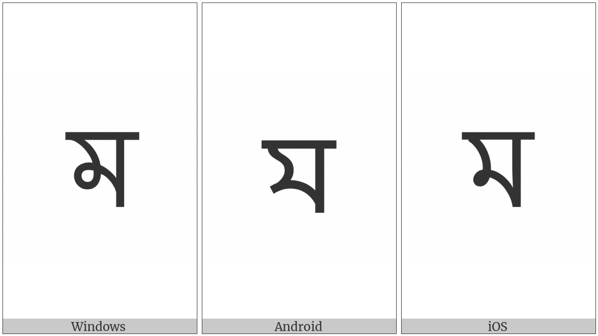 Bengali Letter Ma on various operating systems