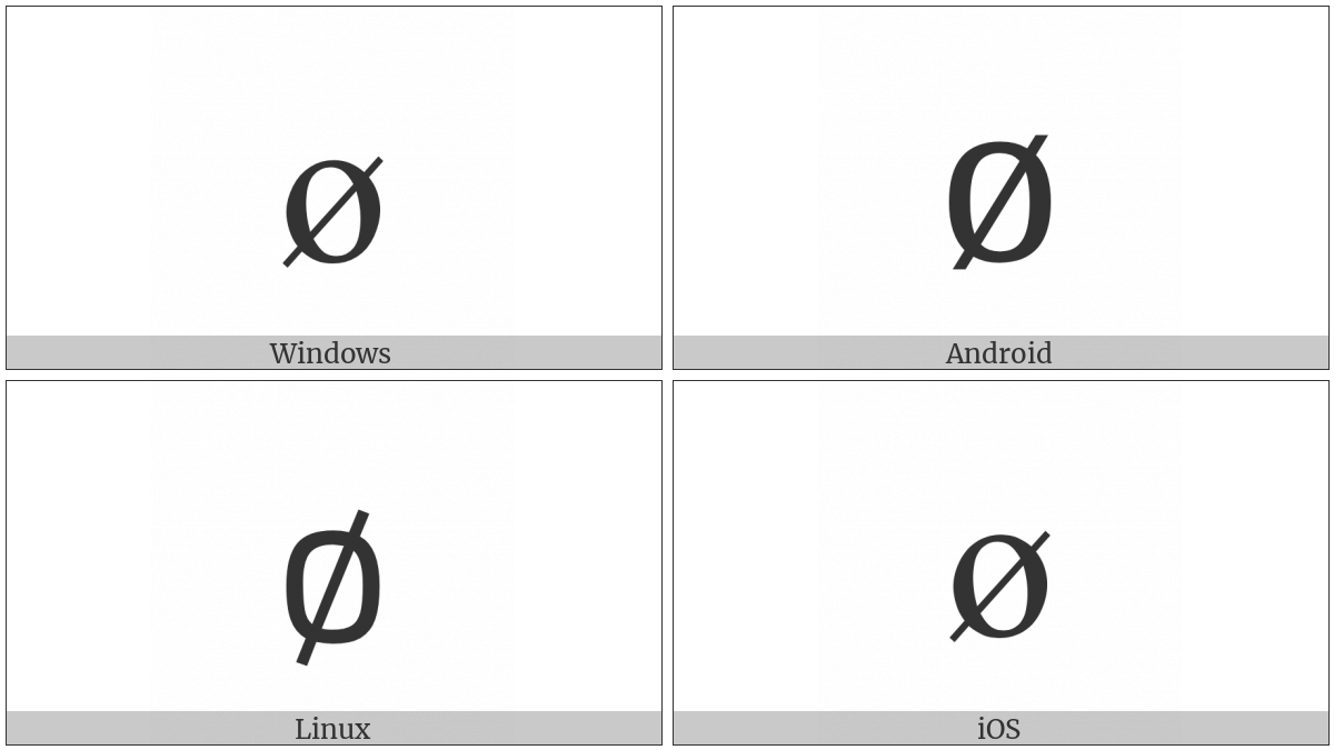 Latin Small Letter O With Stroke on various operating systems
