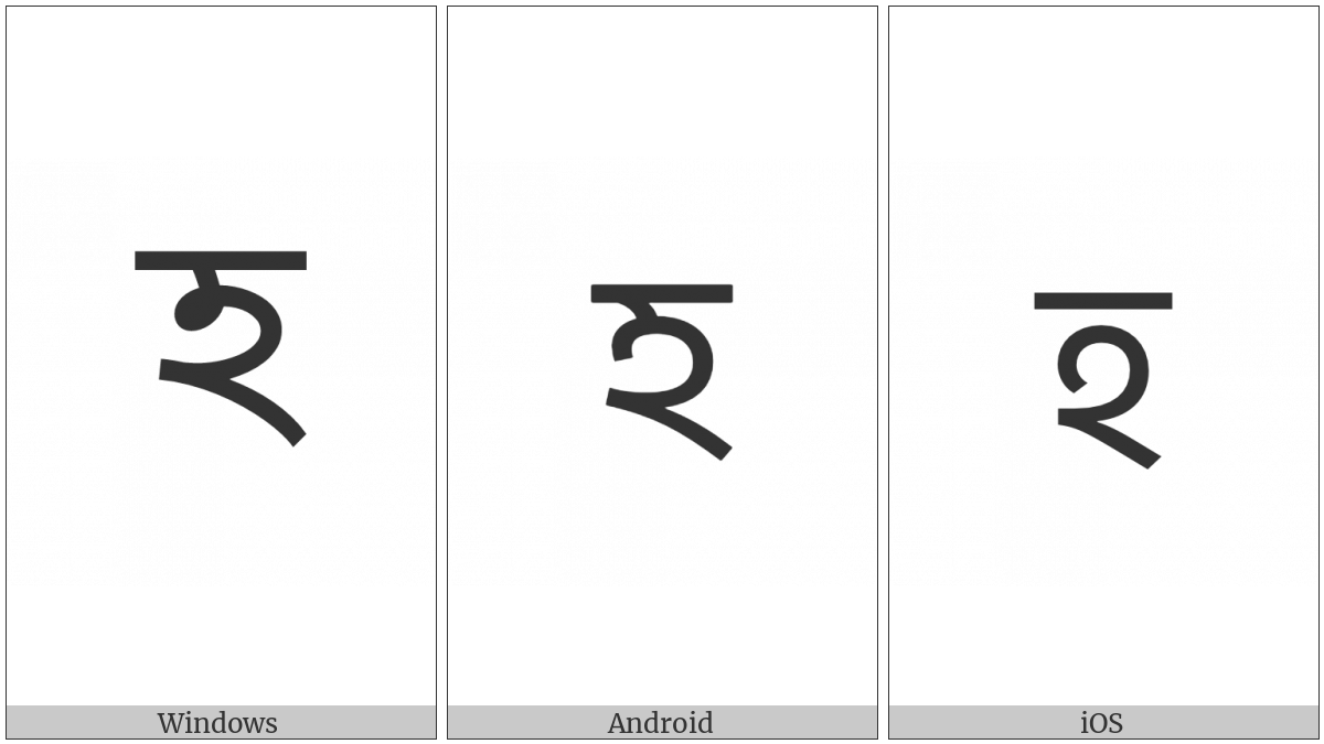Bengali Letter Ha on various operating systems