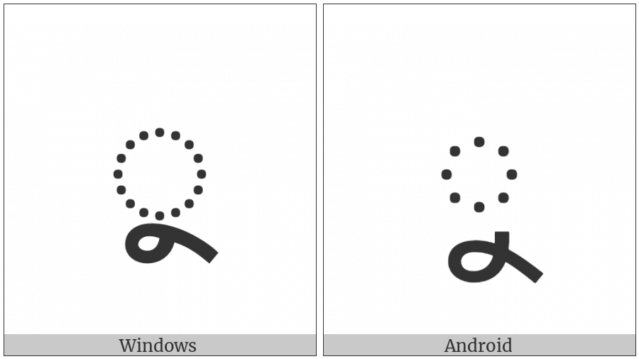 Bengali Vowel Sign U on various operating systems