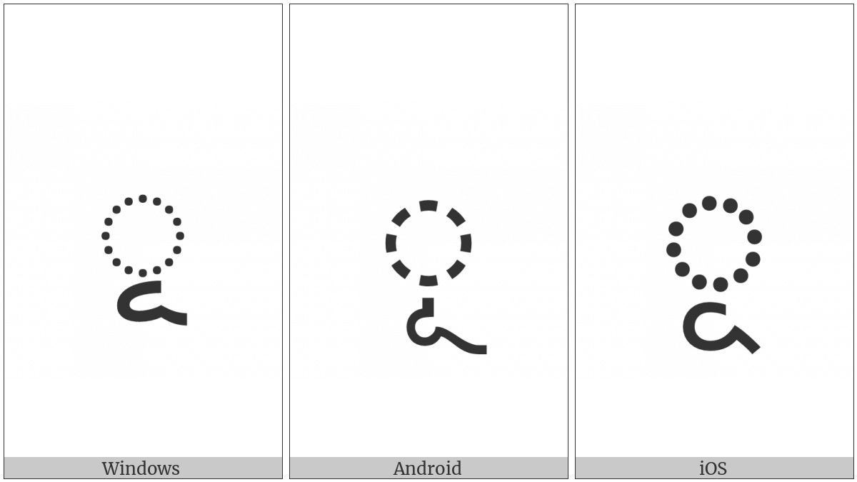 Bengali Vowel Sign Uu on various operating systems