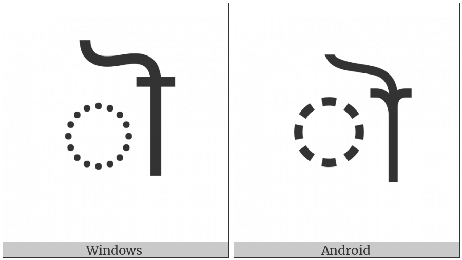 Bengali Au Length Mark on various operating systems