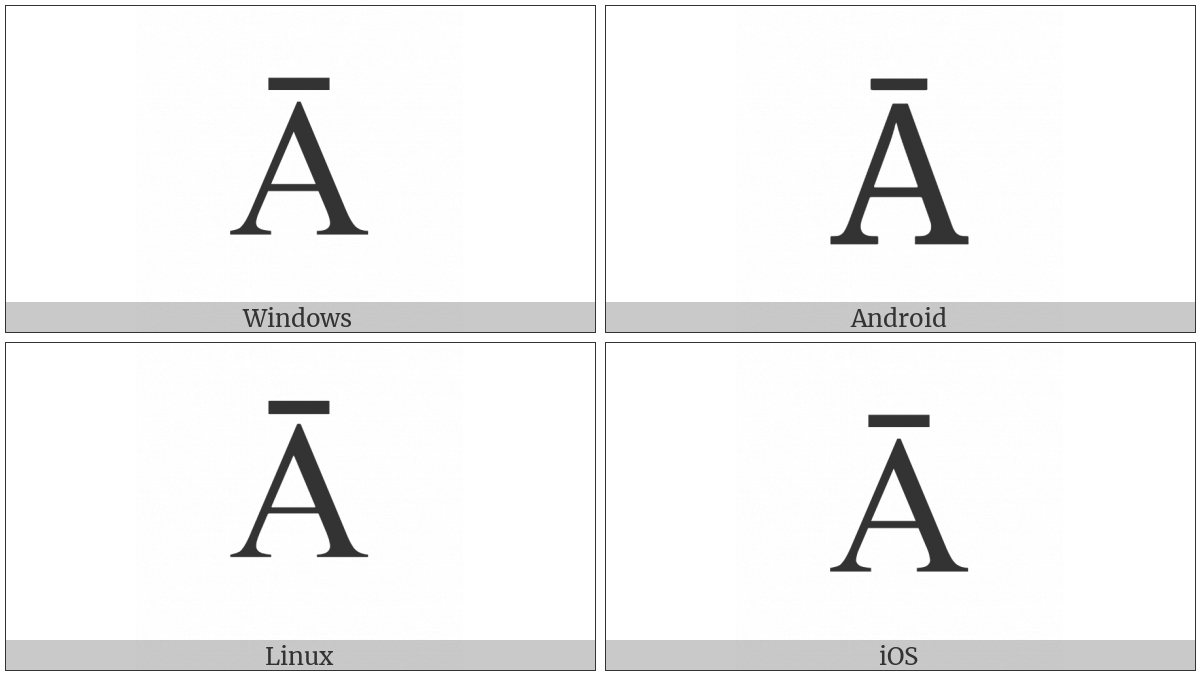 Latin Capital Letter A With Macron on various operating systems