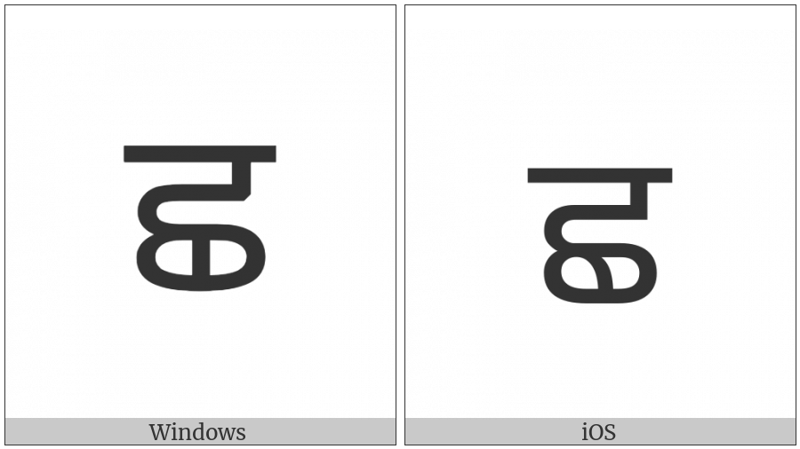Gurmukhi Letter Cha on various operating systems