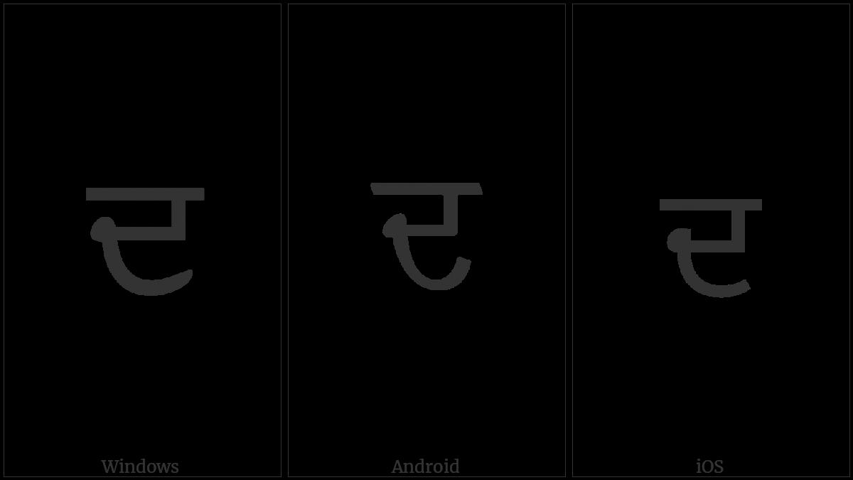 Gurmukhi Letter Da on various operating systems