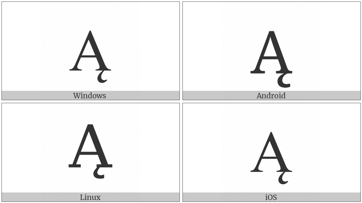 Latin Capital Letter A With Ogonek on various operating systems