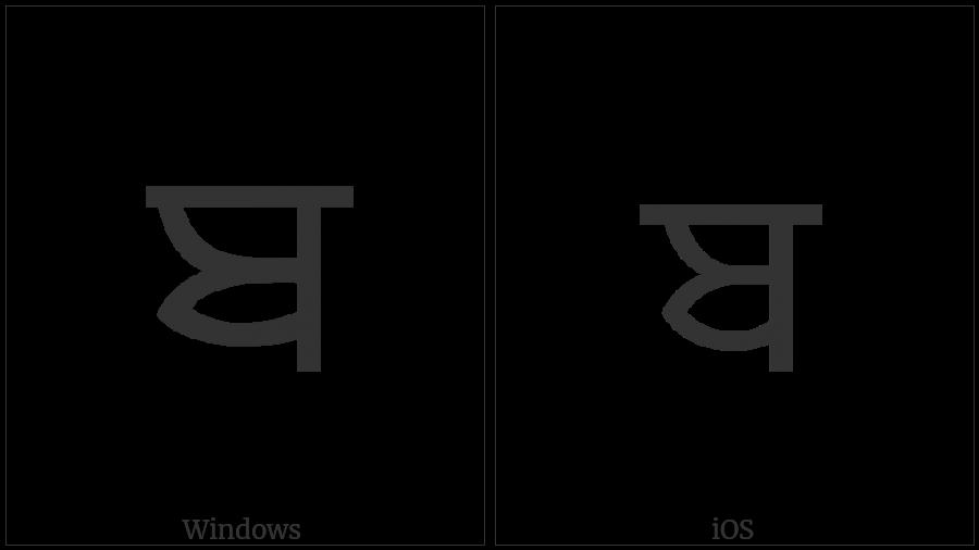 Gurmukhi Letter Ba on various operating systems