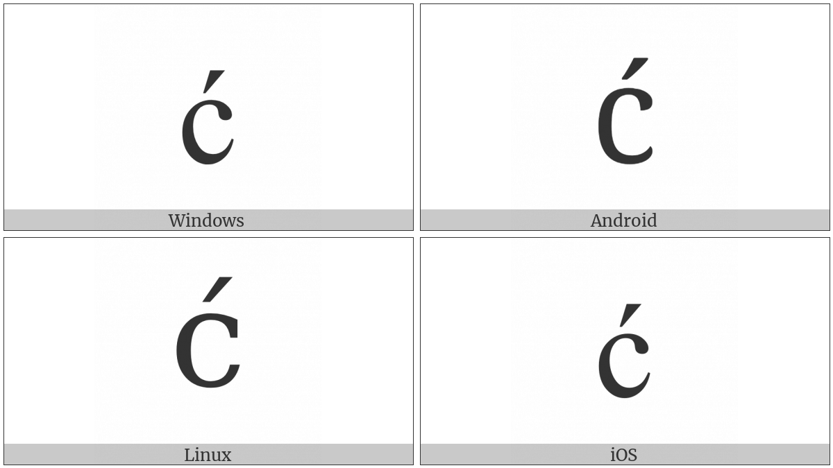 Latin Small Letter C With Acute on various operating systems
