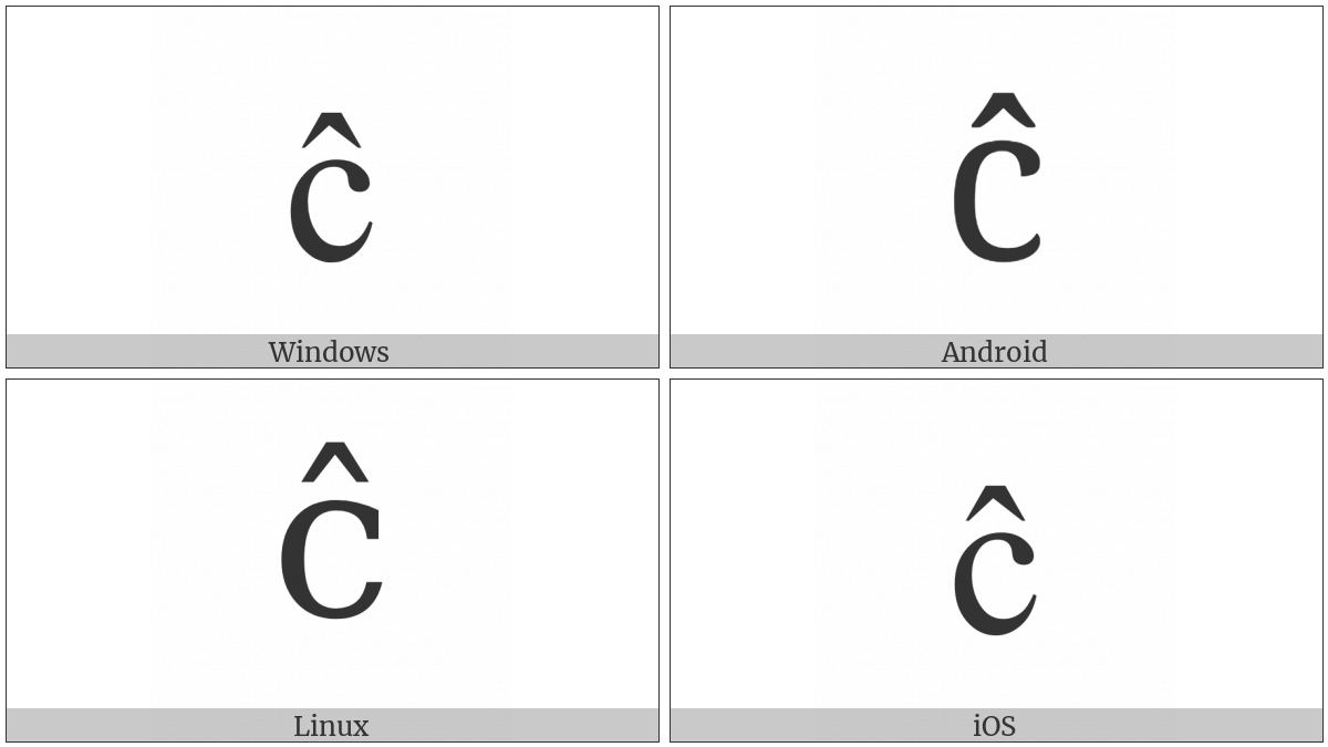 Latin Small Letter C With Circumflex on various operating systems