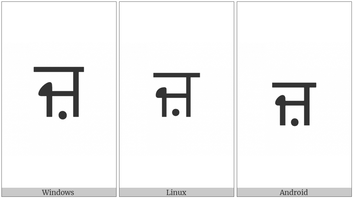 Gurmukhi Letter Za on various operating systems