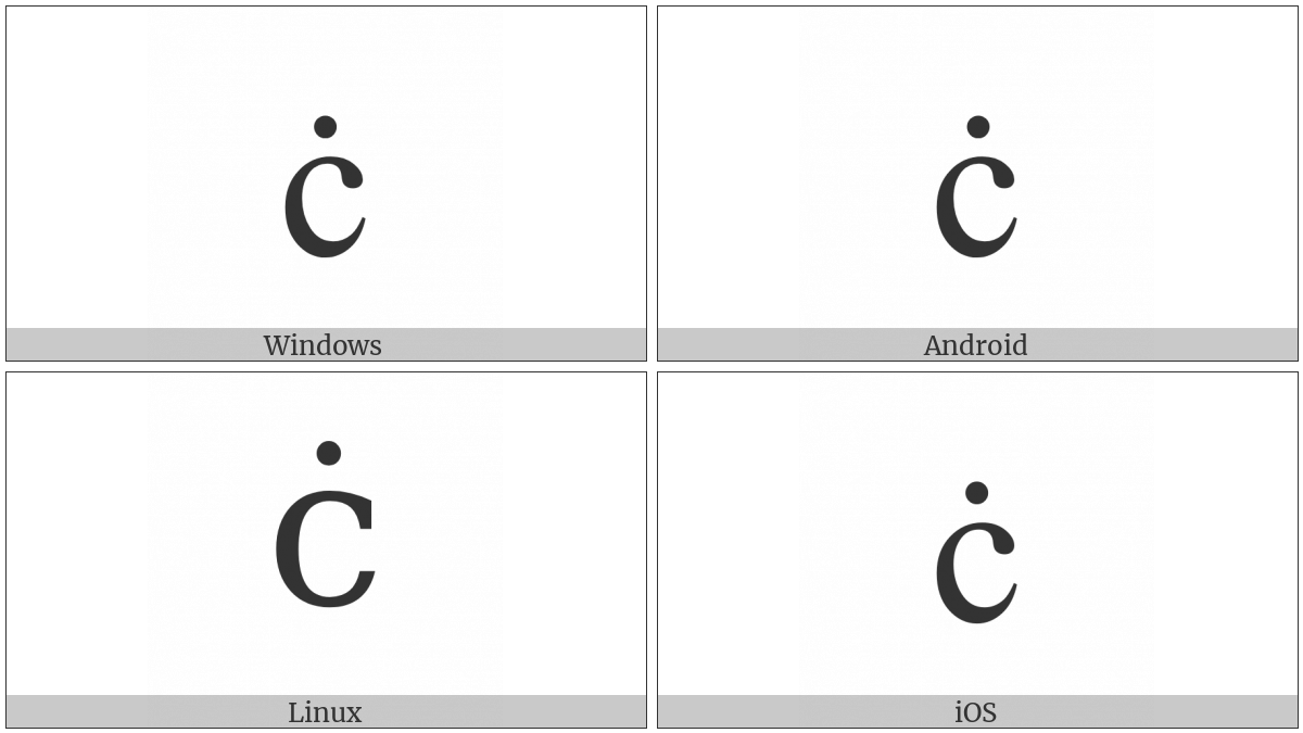 Latin Small Letter C With Dot Above on various operating systems