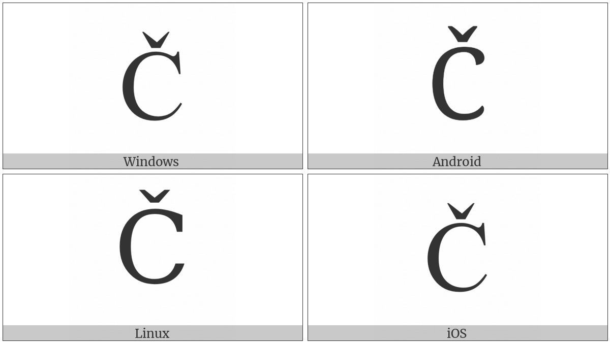 Latin Capital Letter C With Caron on various operating systems