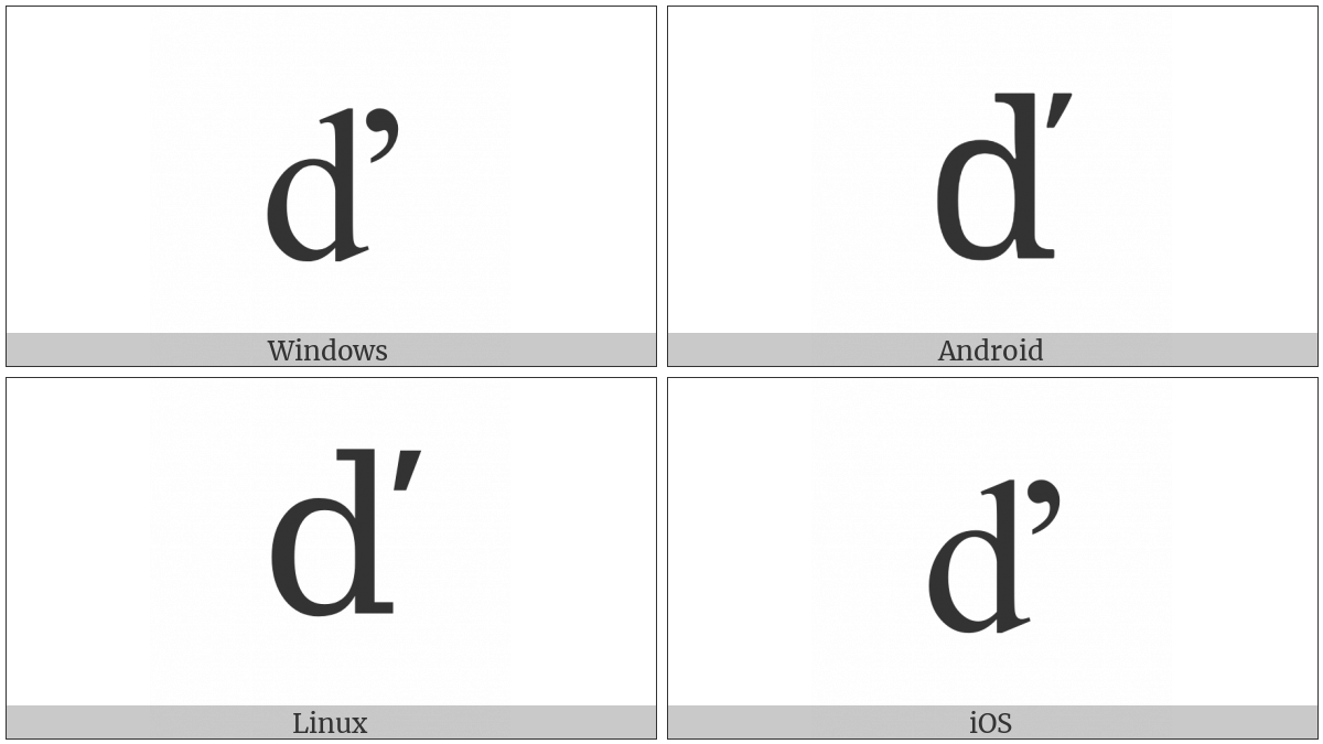 Latin Small Letter D With Caron on various operating systems