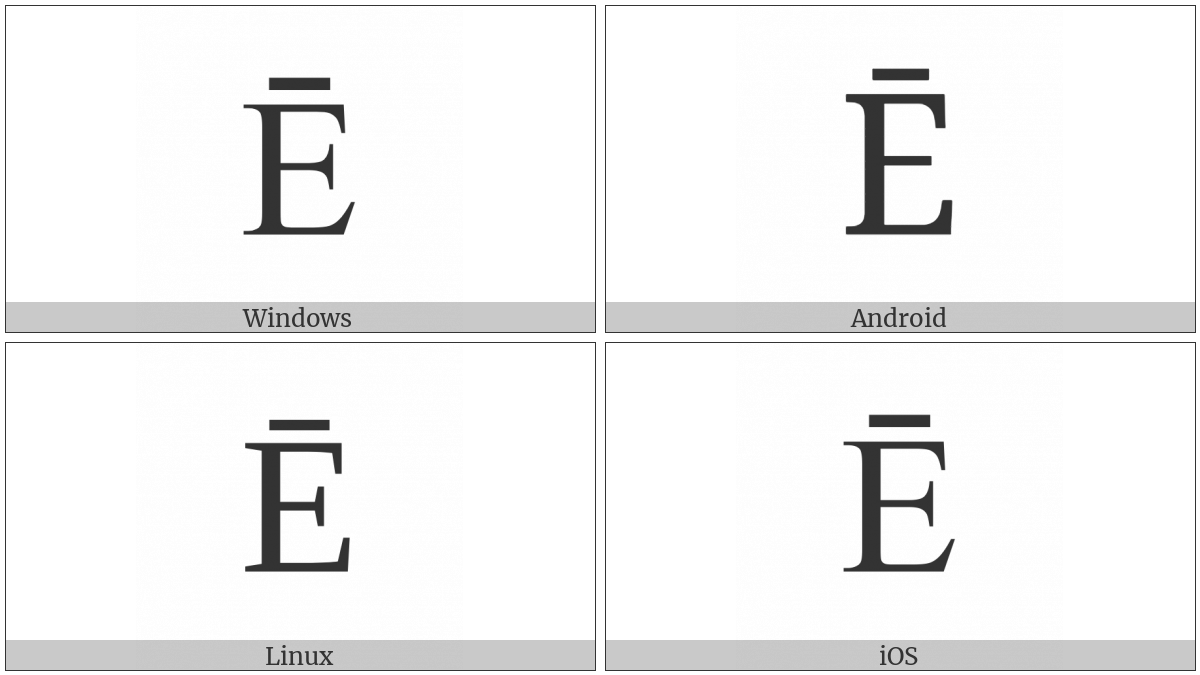 Latin Capital Letter E With Macron on various operating systems