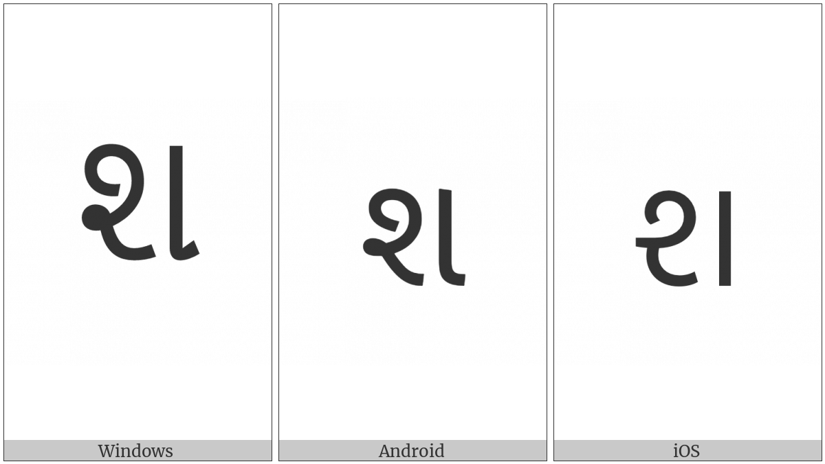 Gujarati Letter Sha on various operating systems