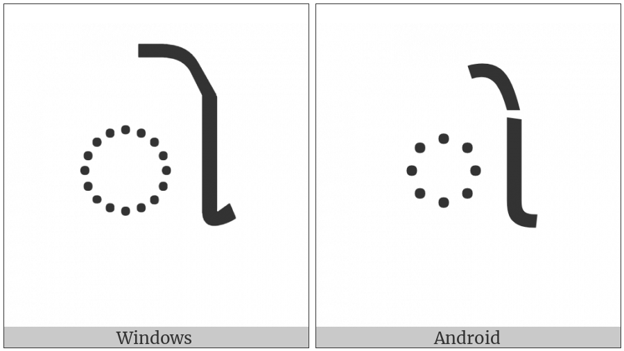 Gujarati Vowel Sign O on various operating systems