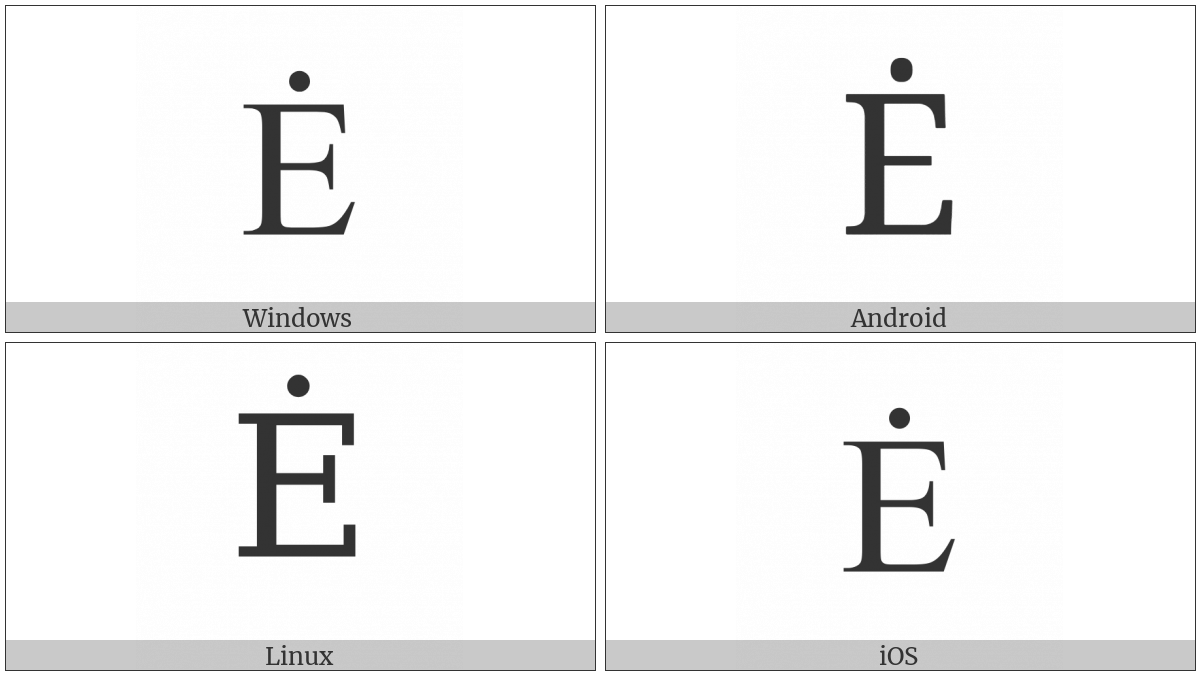Latin Capital Letter E With Dot Above on various operating systems