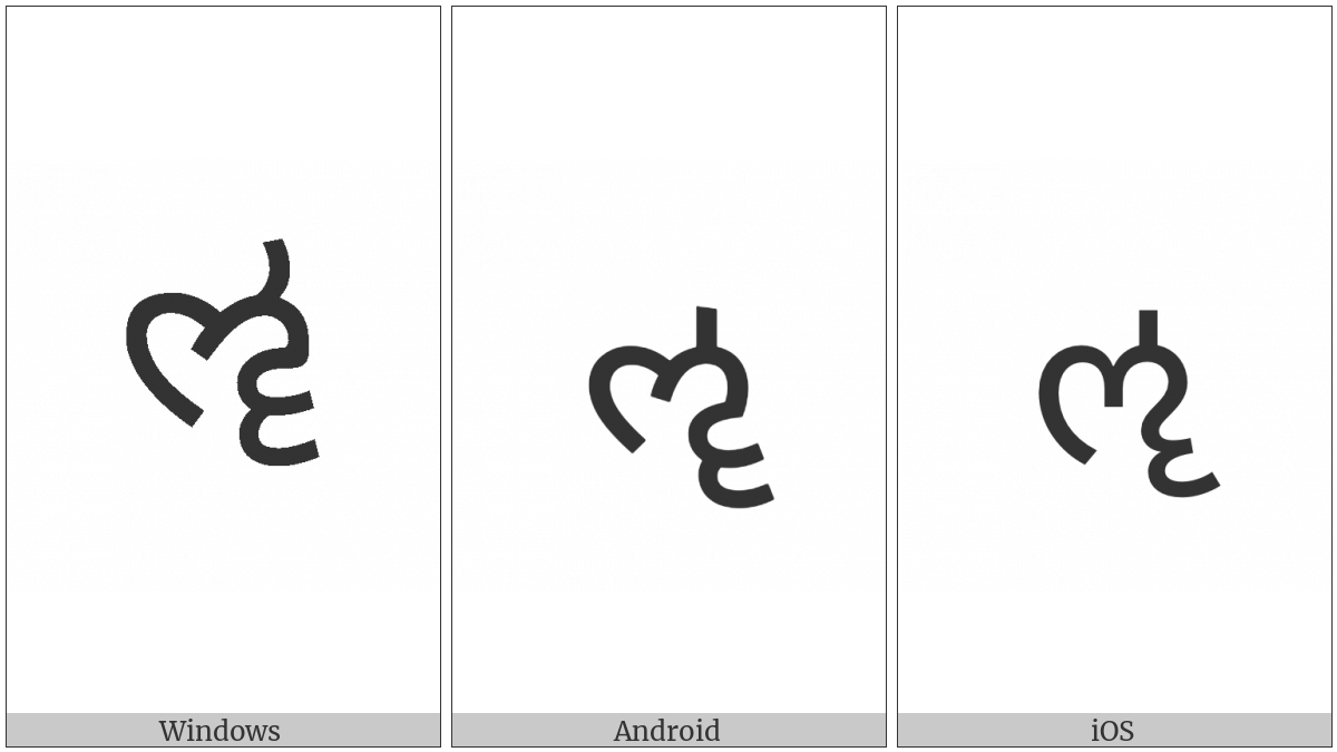 Gujarati Letter Vocalic Ll on various operating systems