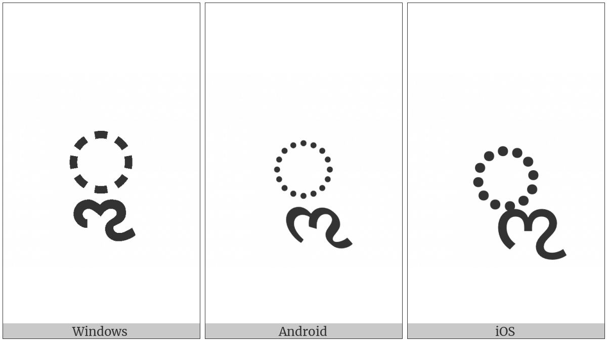 Gujarati Vowel Sign Vocalic L on various operating systems