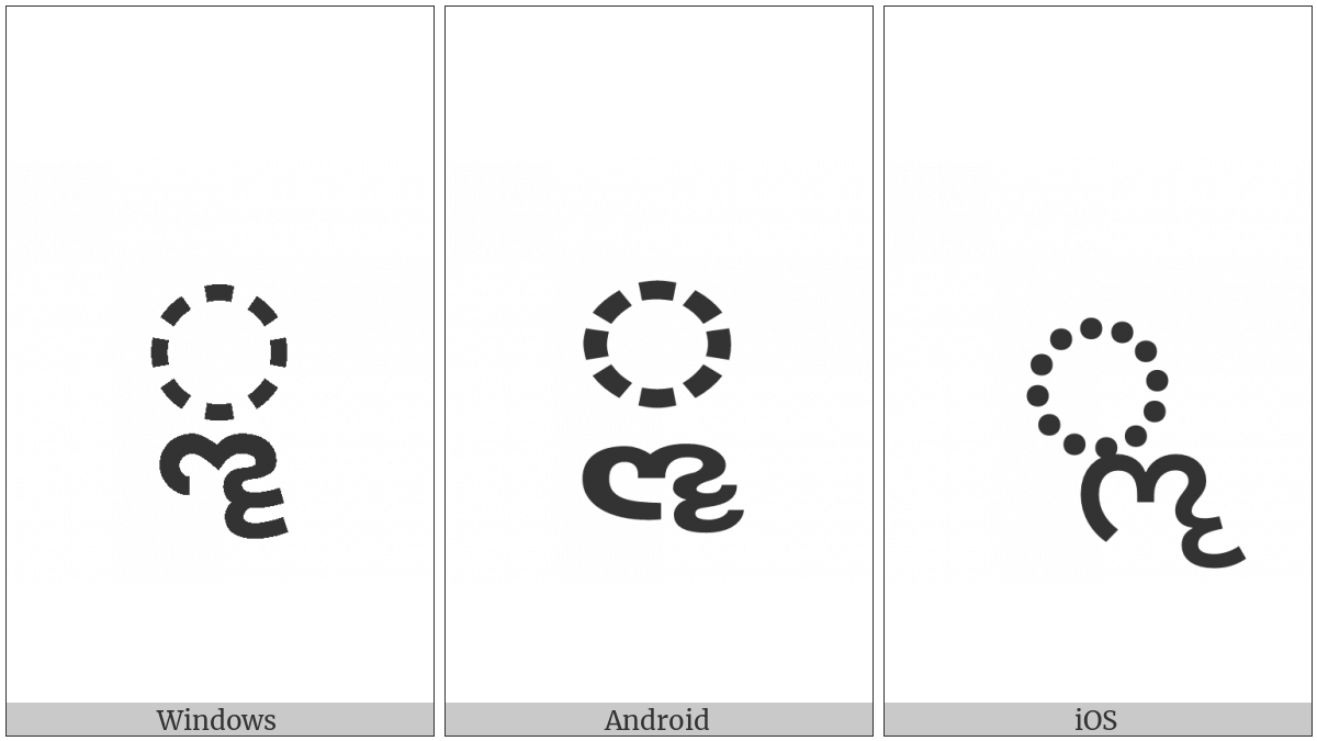 Gujarati Vowel Sign Vocalic Ll on various operating systems