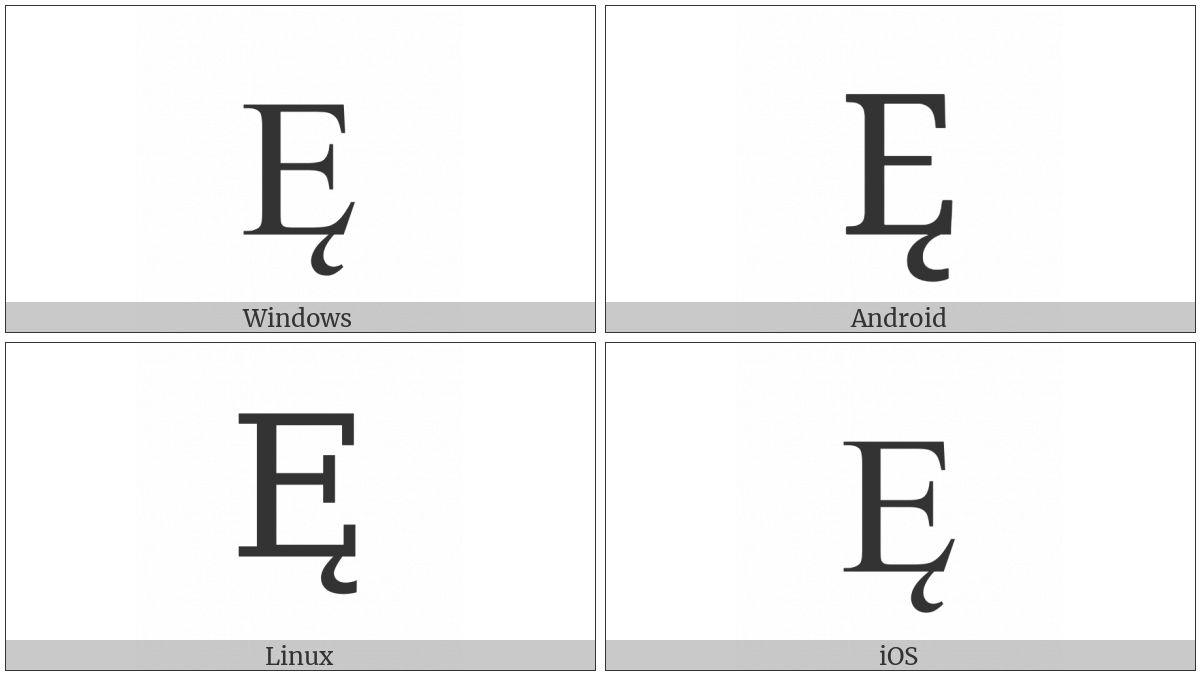 Latin Capital Letter E With Ogonek on various operating systems