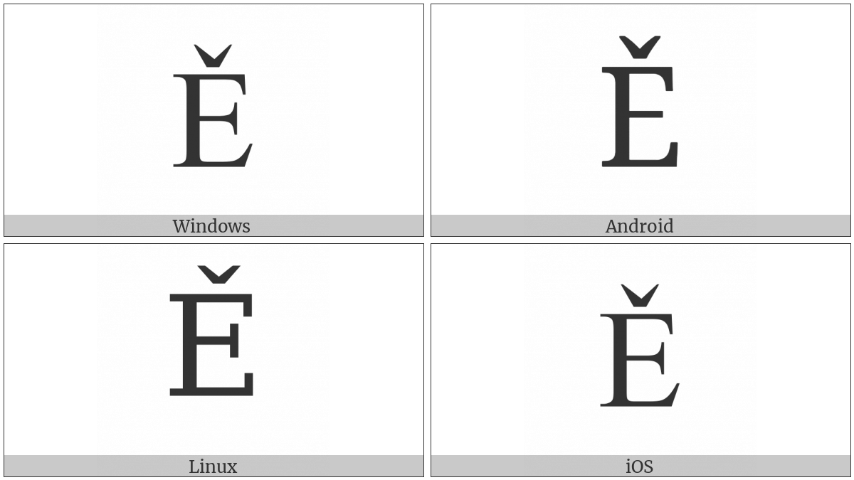Latin Capital Letter E With Caron on various operating systems