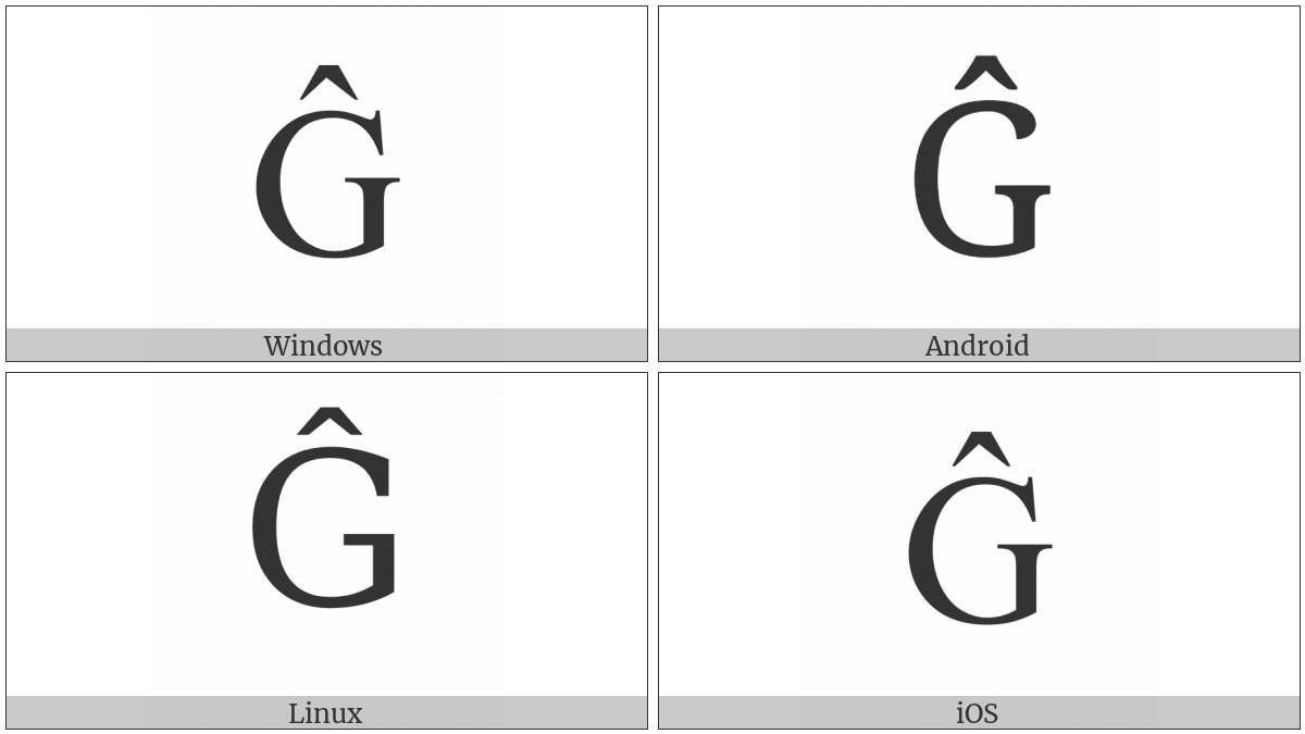 Latin Capital Letter G With Circumflex on various operating systems