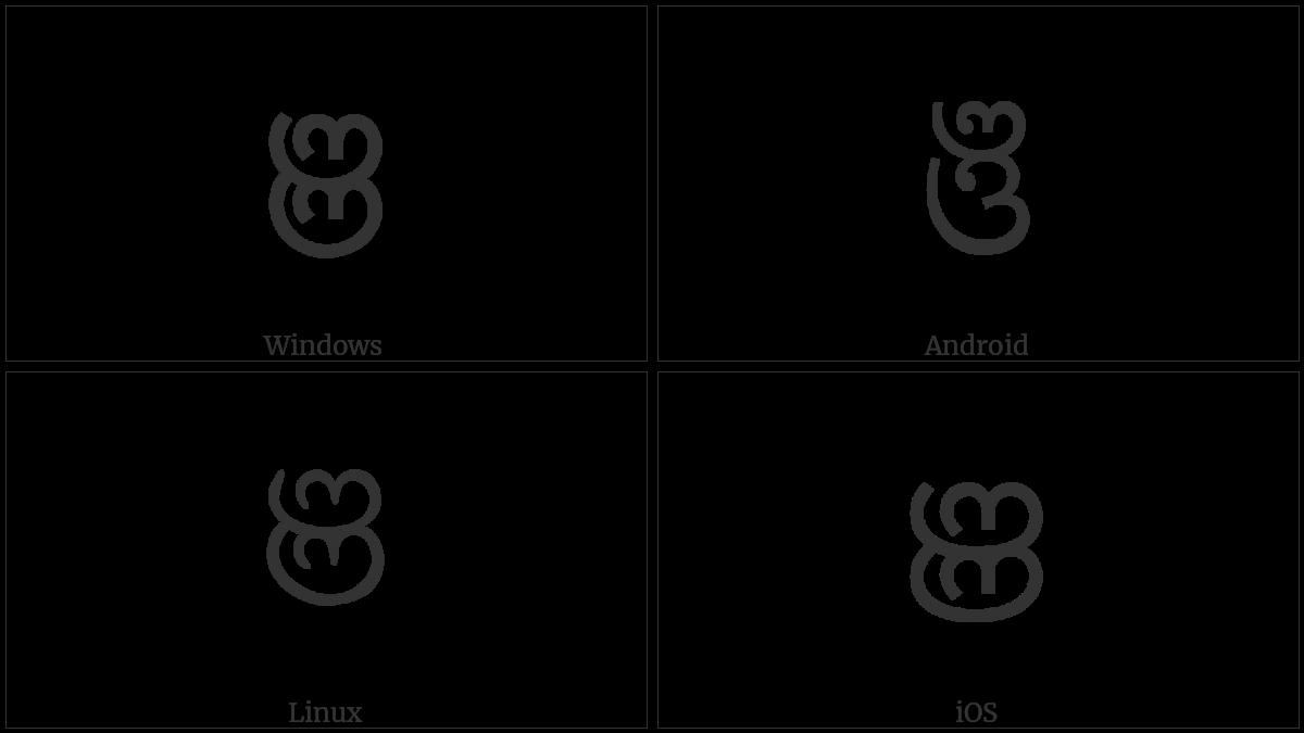 Oriya Letter Nya on various operating systems