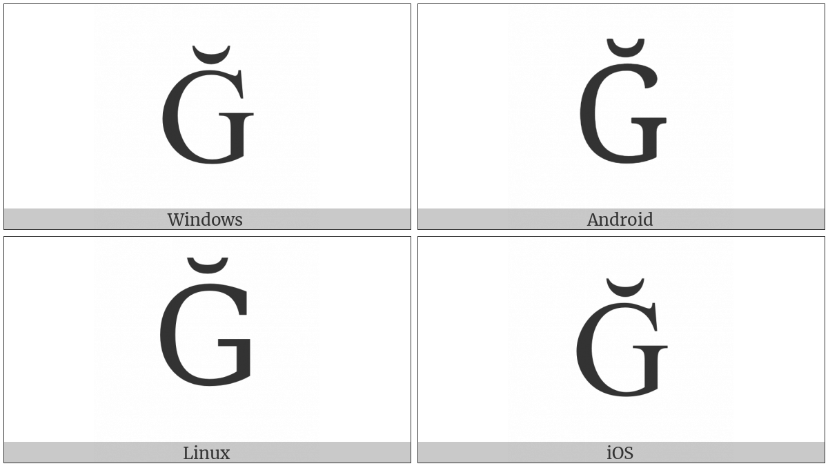 Latin Capital Letter G With Breve on various operating systems