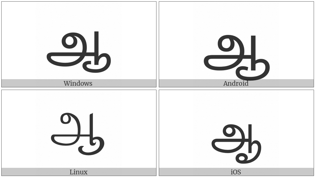 Tamil Letter Aa on various operating systems