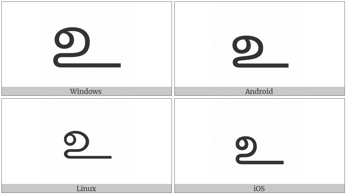 Tamil Letter U on various operating systems