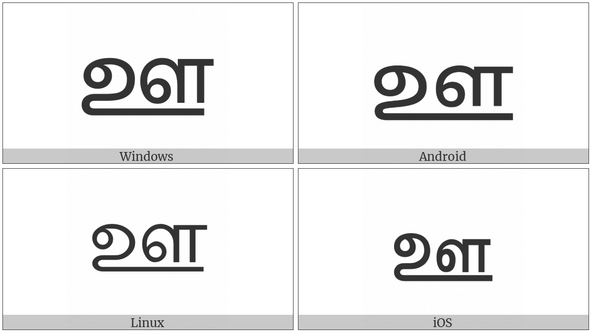 Tamil Letter Uu on various operating systems