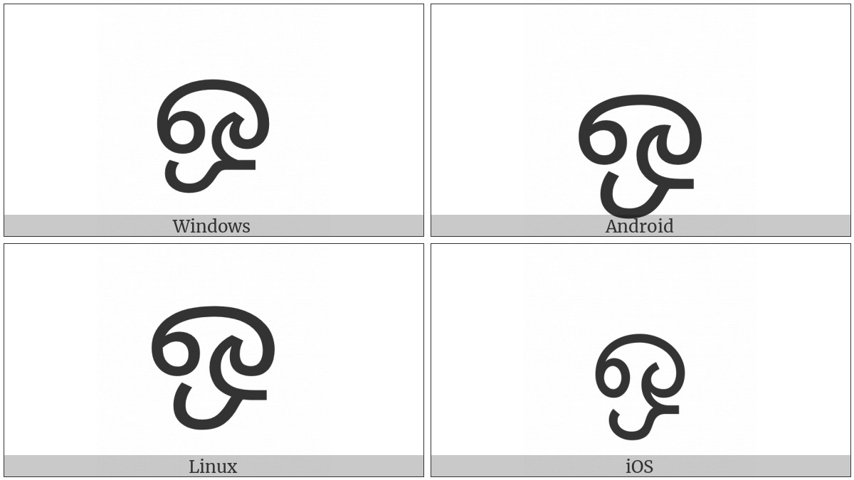 Tamil Letter O on various operating systems