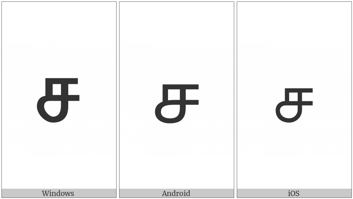 Tamil Letter Ca on various operating systems
