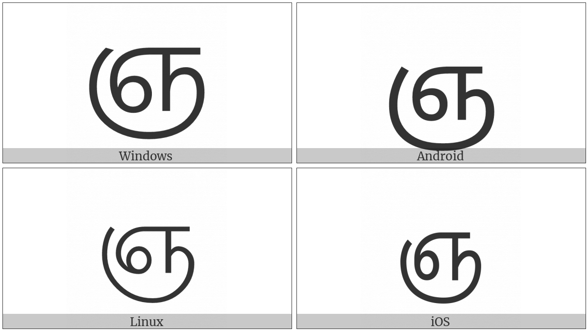 Tamil Letter Nya on various operating systems