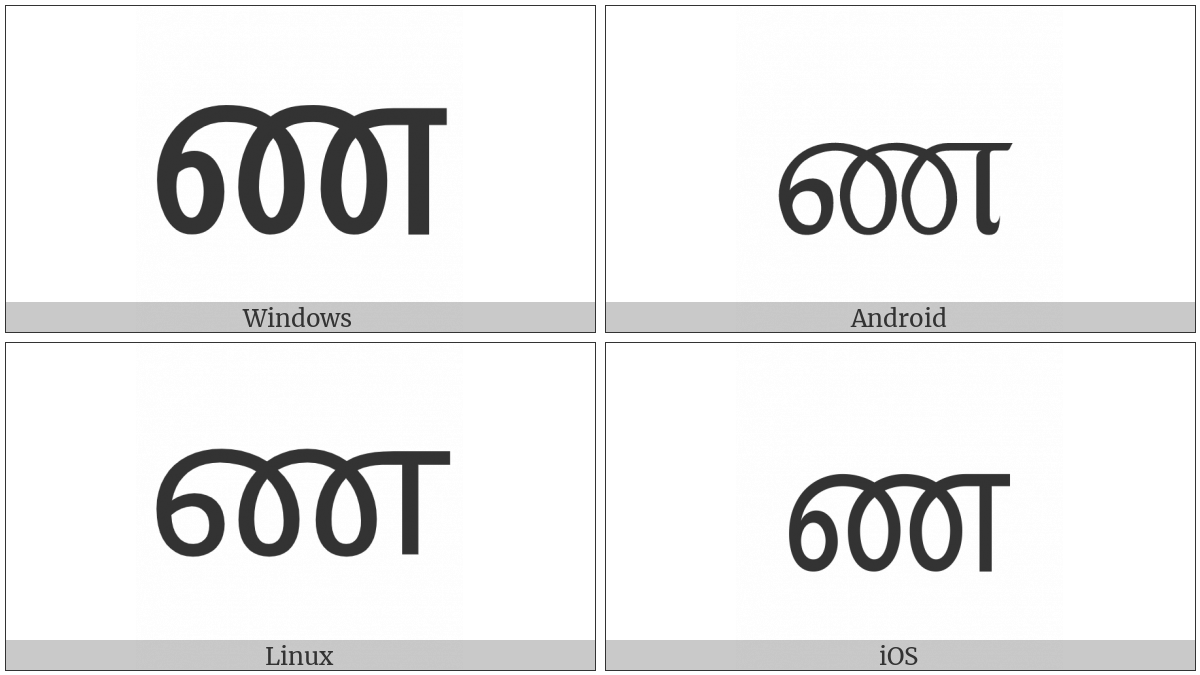 Tamil Letter Nna on various operating systems