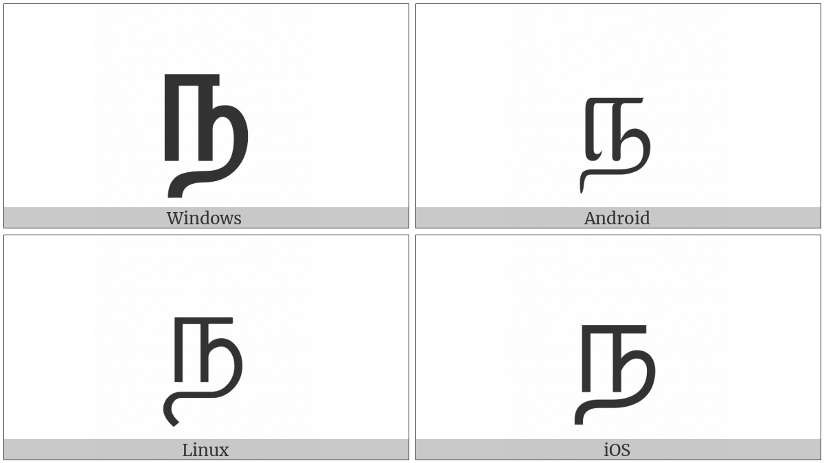 Tamil Letter Na on various operating systems
