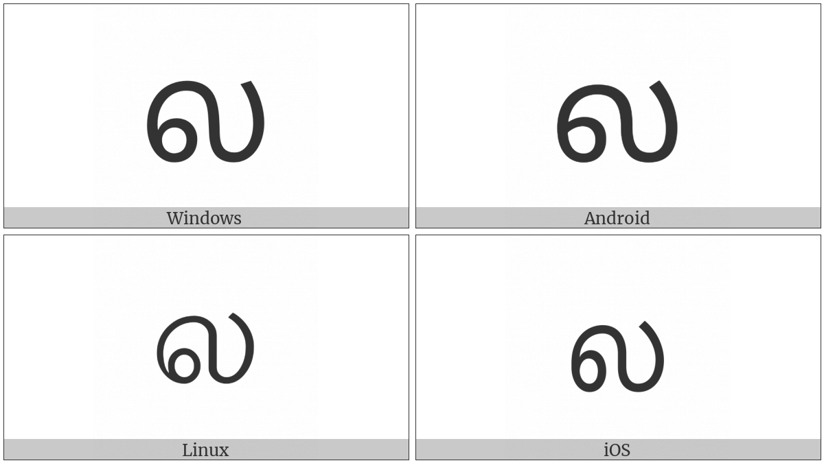 Tamil Letter La on various operating systems