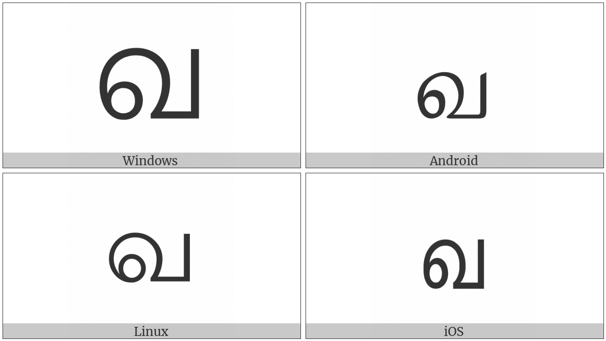 Tamil Letter Va on various operating systems