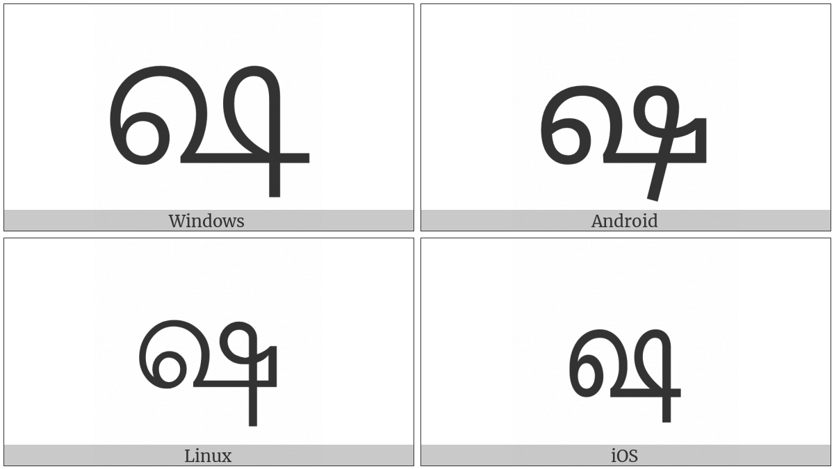 Tamil Letter Ssa on various operating systems