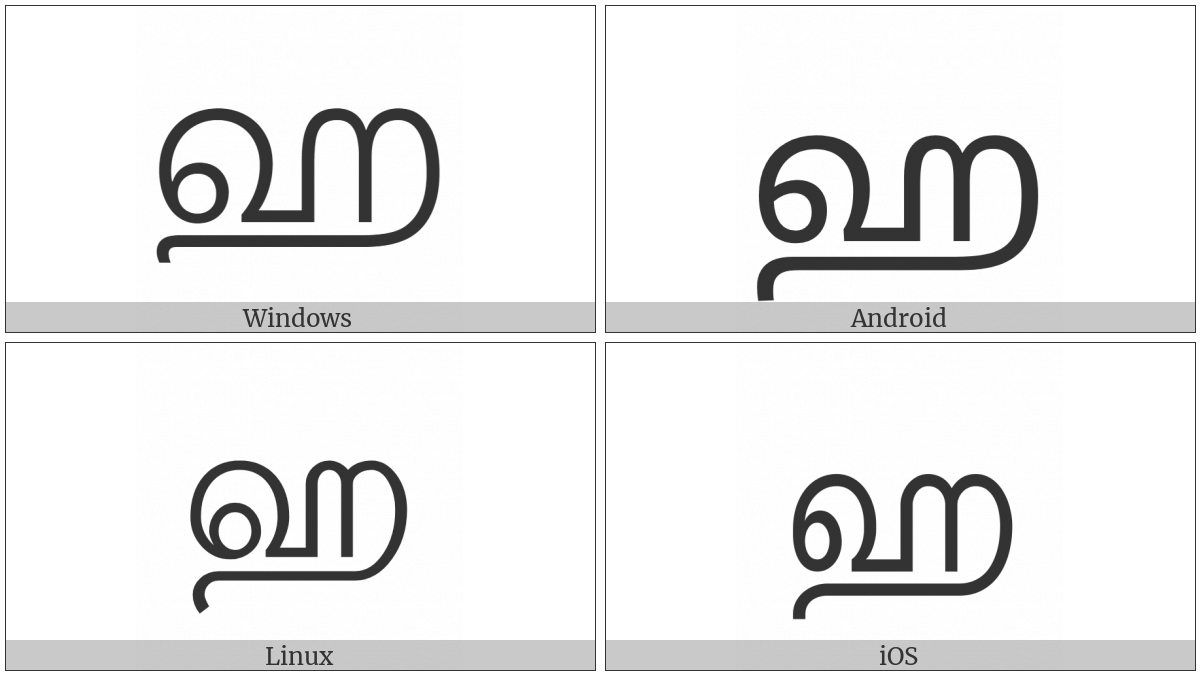 Tamil Letter Ha on various operating systems