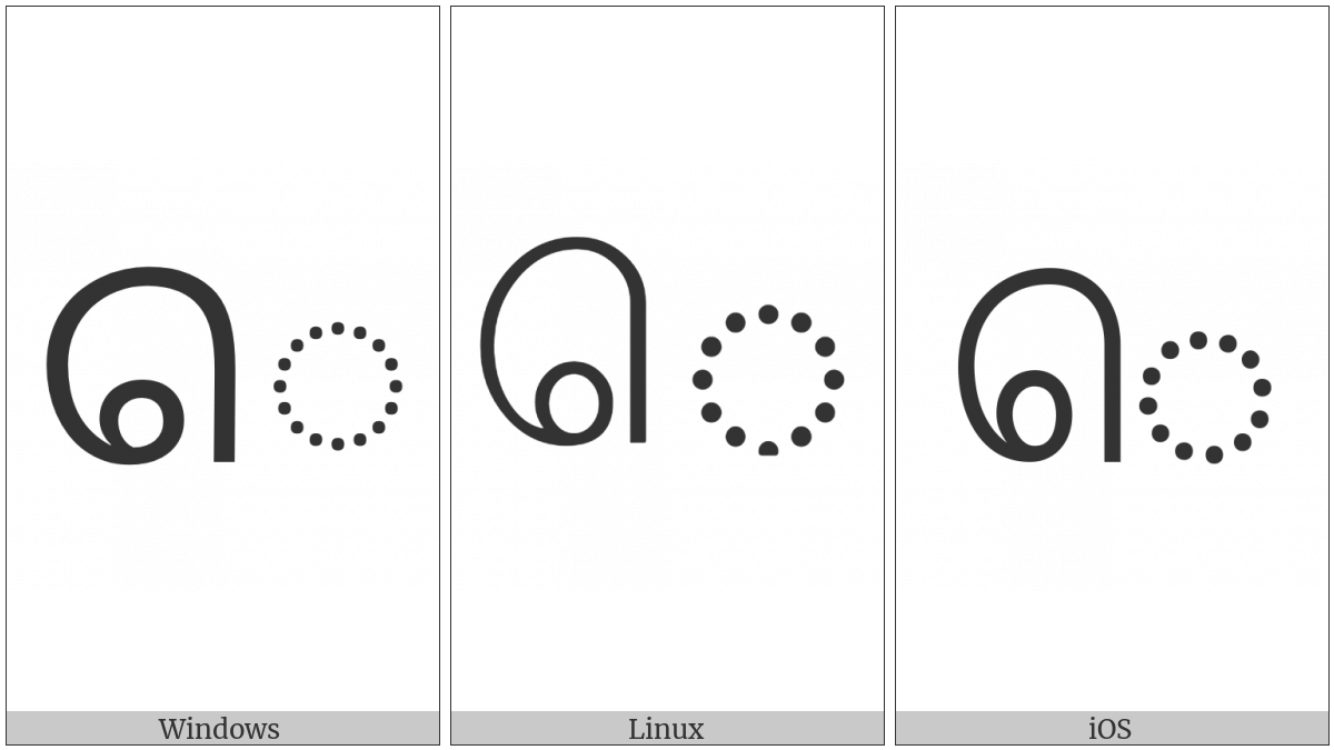 Tamil Vowel Sign E on various operating systems
