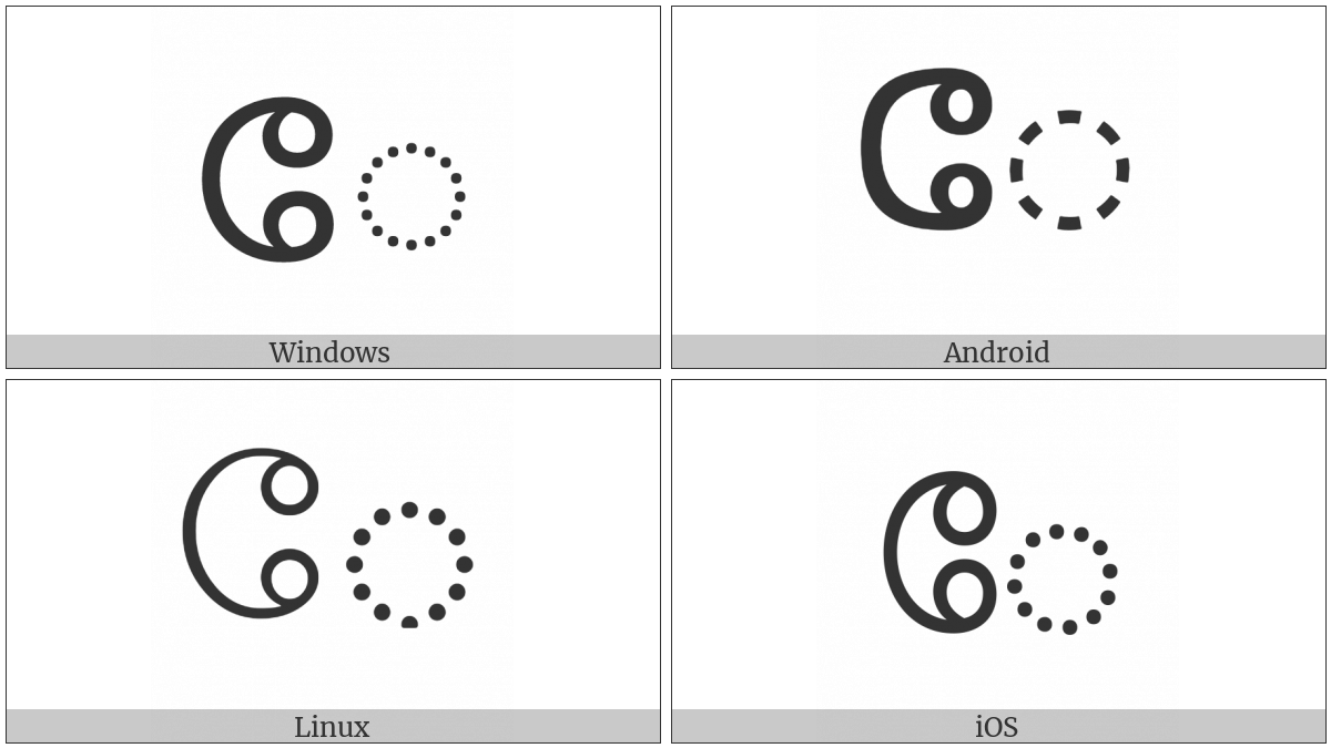 Tamil Vowel Sign Ee on various operating systems