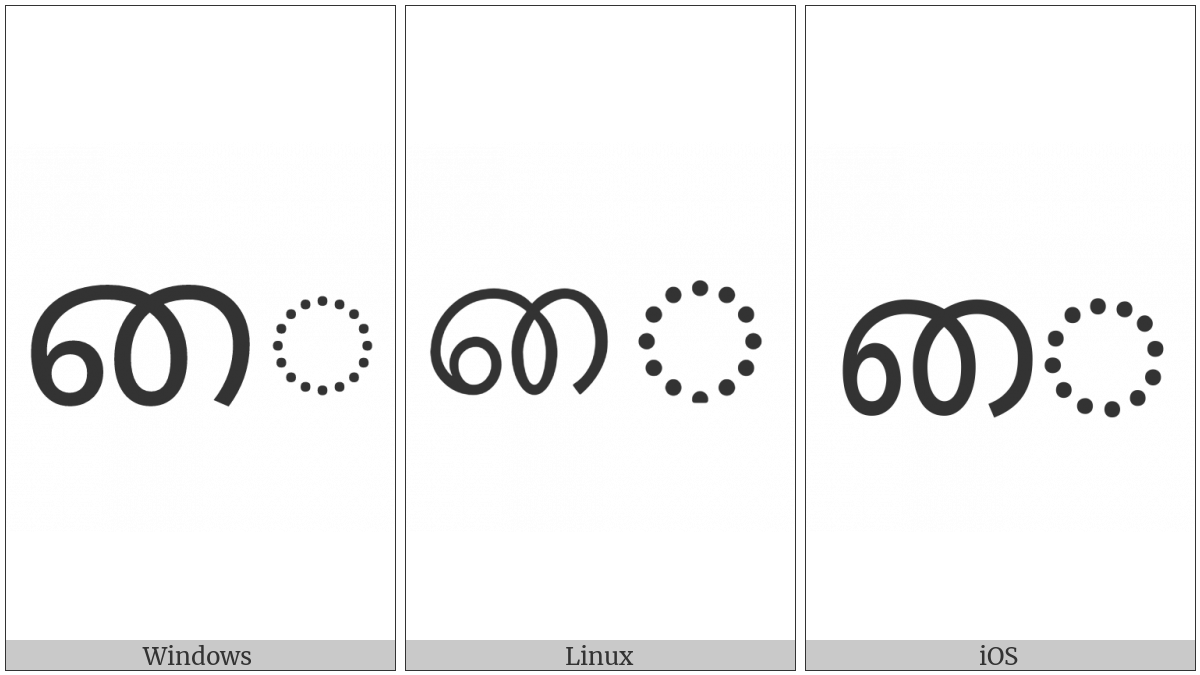 Tamil Vowel Sign Ai on various operating systems